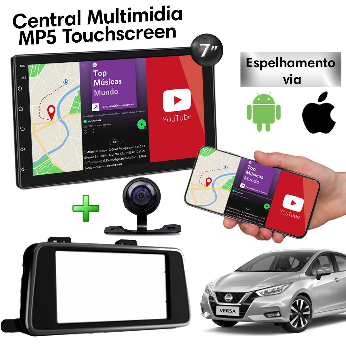 Central Multimidia com Moldura Nissan Versa Mp5 Bluetooth Usb Touchscreen 7 Polegadas 2 Din Black Piano 2021 Poliparts