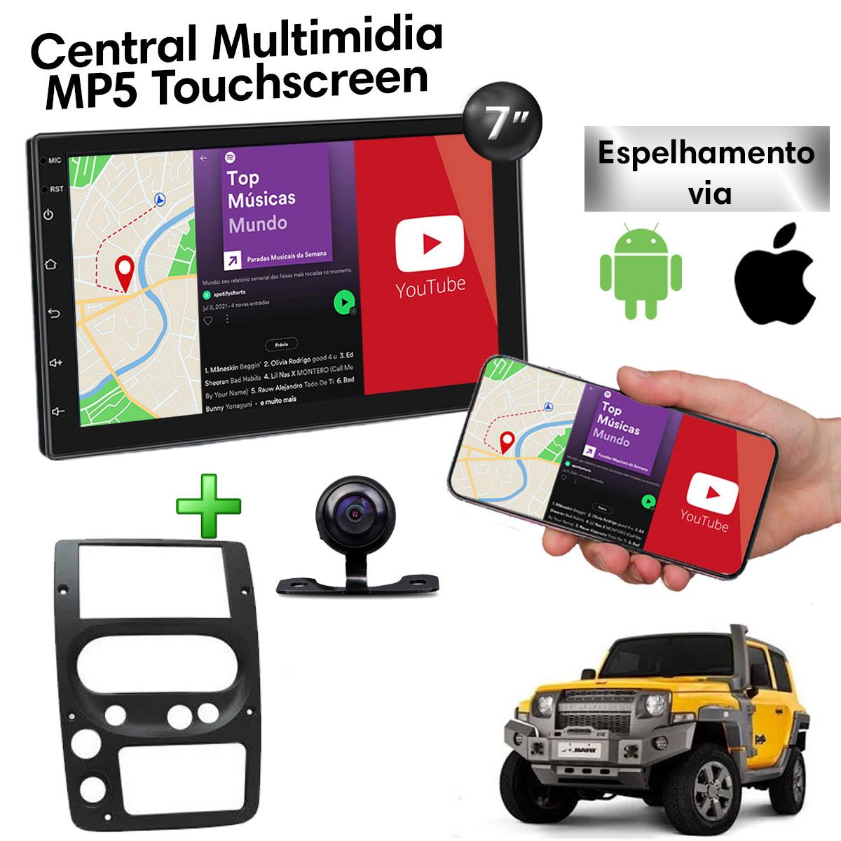 Central Multimidia com Moldura Troller T4 Mp5 Bluetooth Usb Touchscreen 7 Polegadas 2 Din Atacado