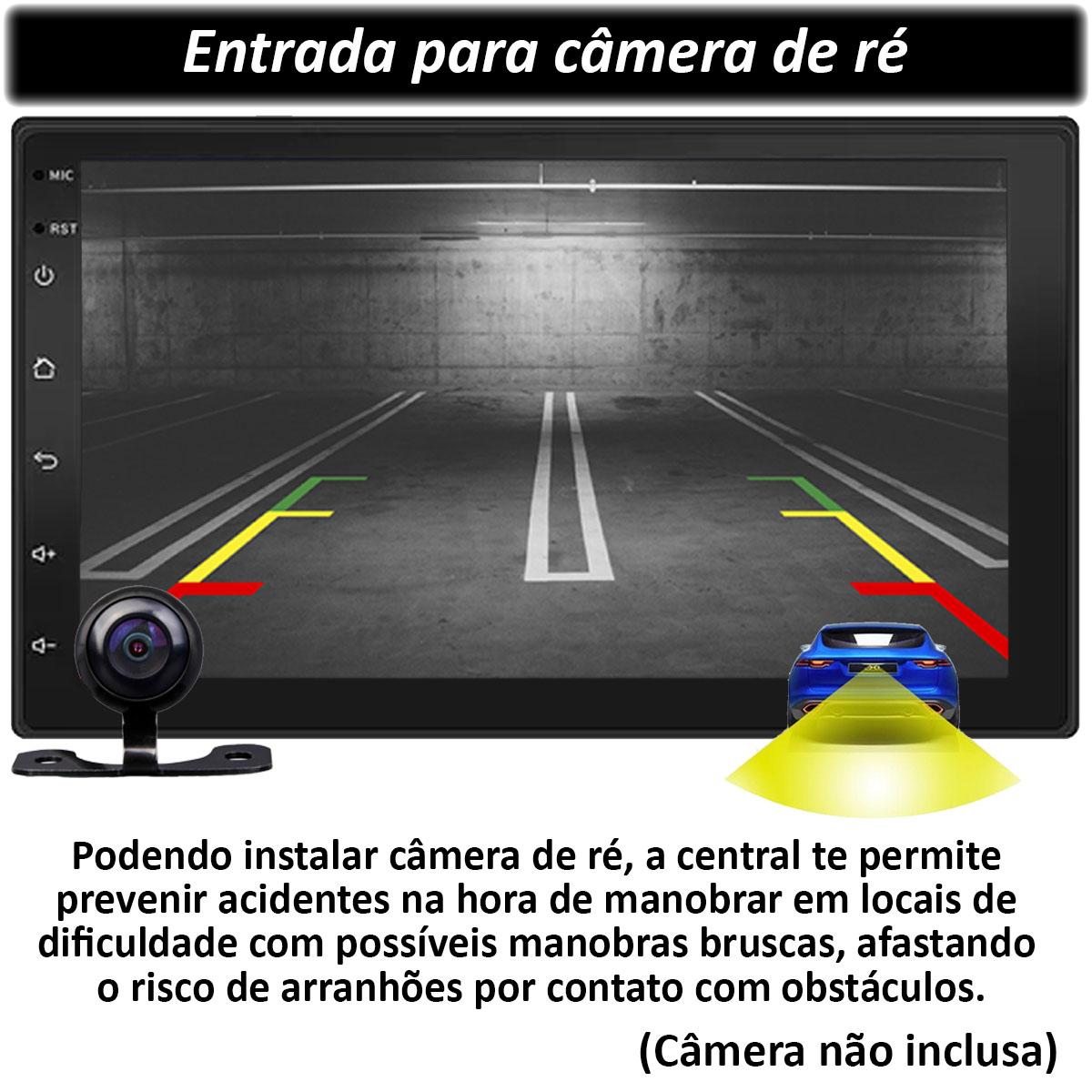 Central Multimidia com Moldura Troller T4 Mp5 Bluetooth Usb Touchscreen 7 Polegadas 2 Din Poliparts