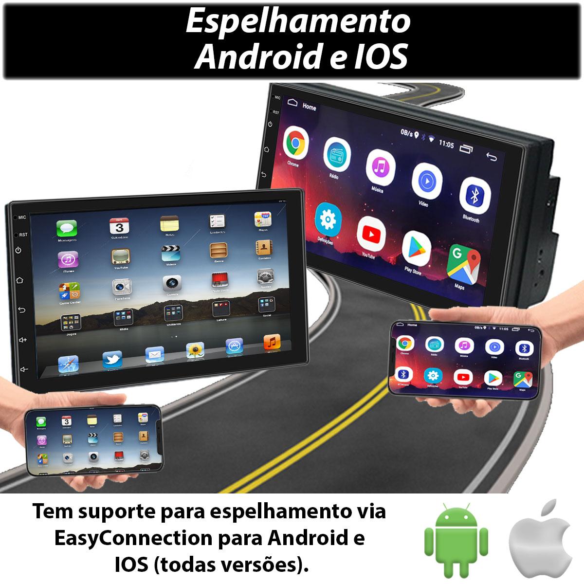 Central Multimidia com Moldura Volkswagen Gol G5 Mp5 Bluetooth Usb Touchscreen 7 Polegadas 2 Din Poliparts