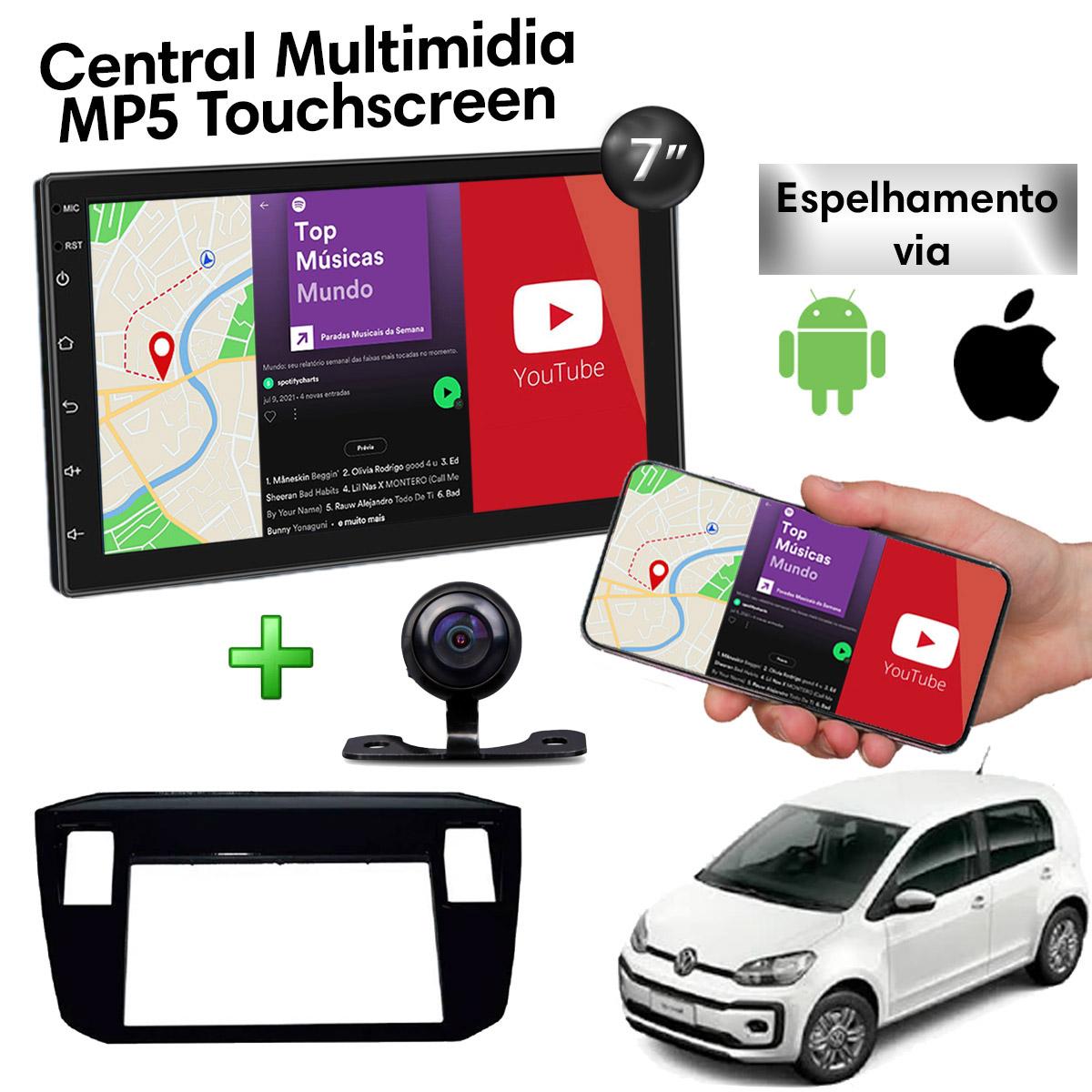 Central Multimidia com Moldura Volkswagen UP Mp5 Bluetooth Usb Touchscreen 7 Polegadas 2 Din Black Piano 2017 a 2020 Atacado