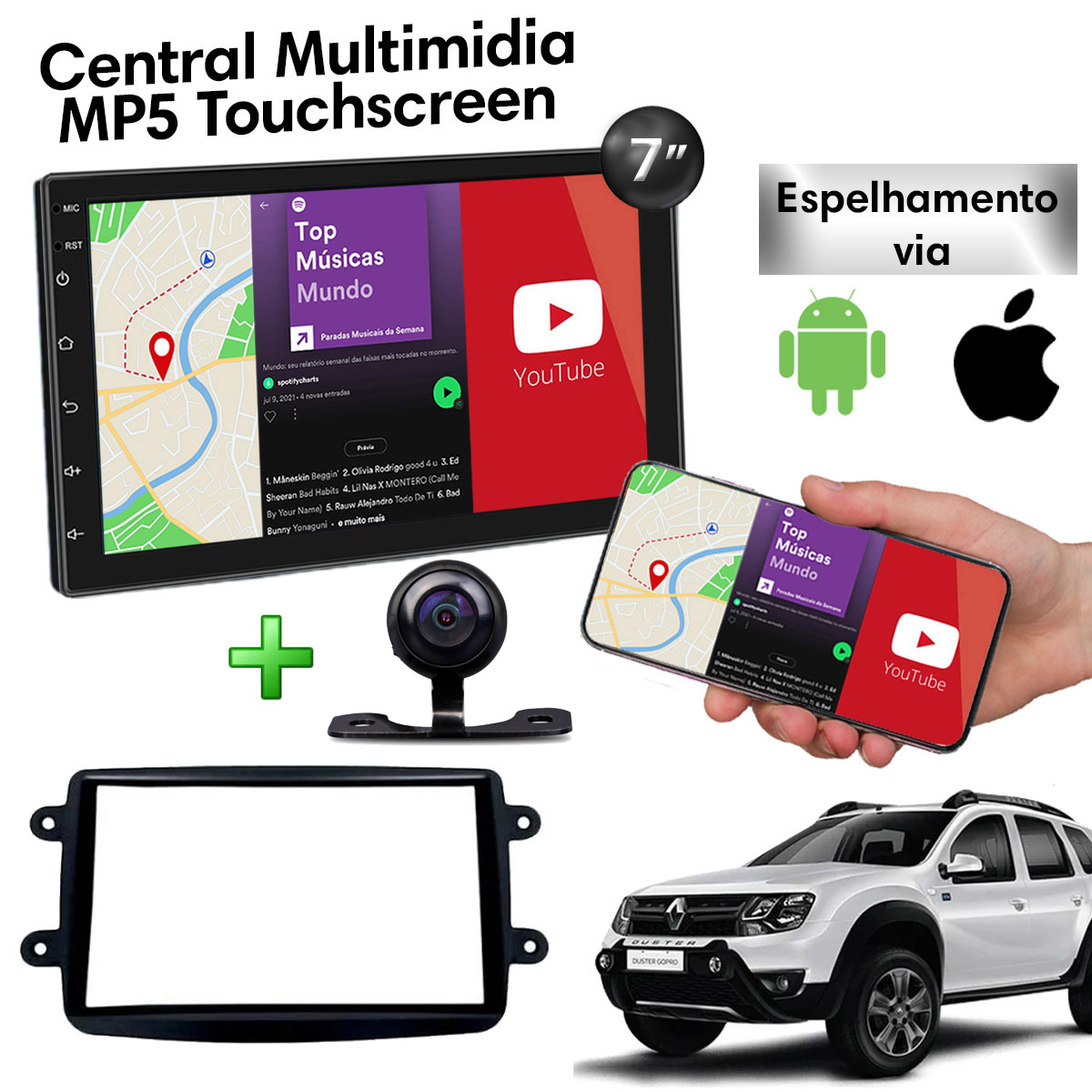 Central Multimidia com Renault Duster Mp5 Bluetooth Usb Touchscreen 7 Polegadas 2 Din Atacado