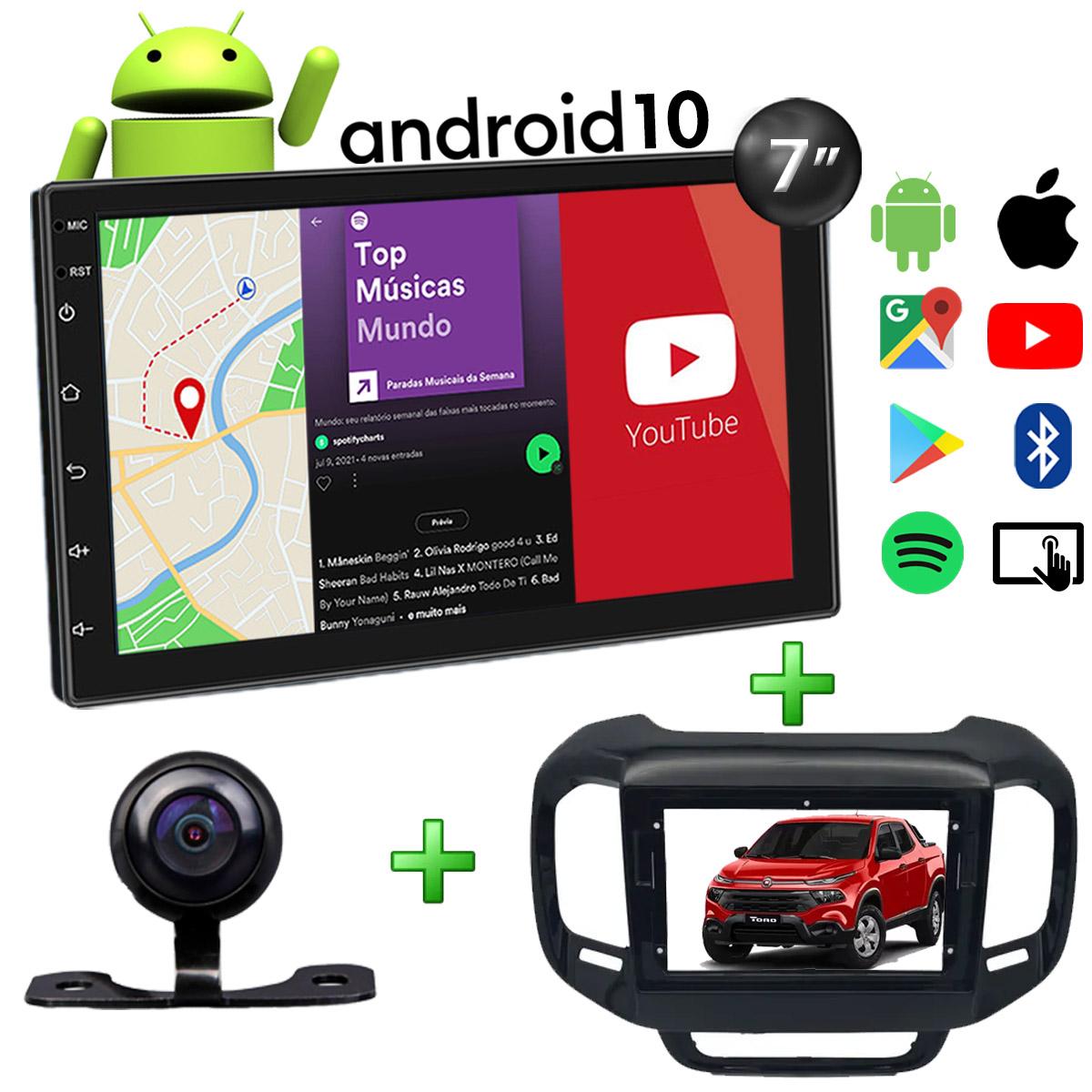Central Multimídia Fiat Toro Muzik Android com Câmera 7 Polegadas 2 Din Moldura Black Piano Atacado Poliparts