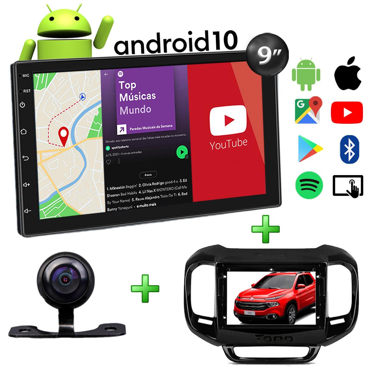 Central Multimídia Fiat Toro Muzik Android com Câmera 9 Polegadas 2 Din Moldura Black Piano Atacado Poliparts