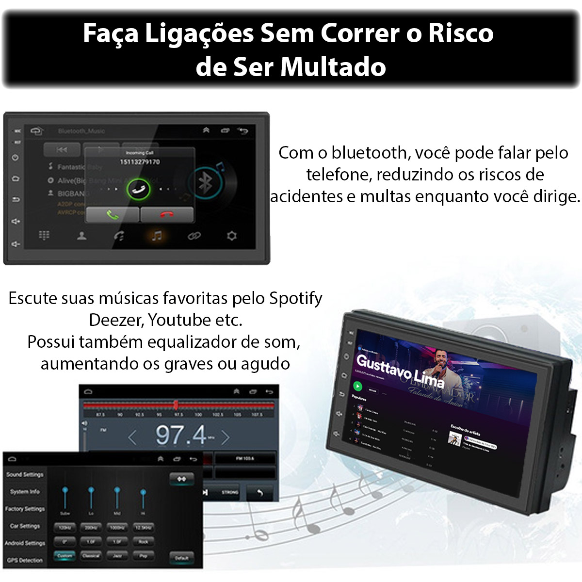 Central Multimídia Ford Novo Ka Muzik Android com Câmera de Ré 7 Polegadas 2 Din Moldura Black Piano Atacado Poliparts