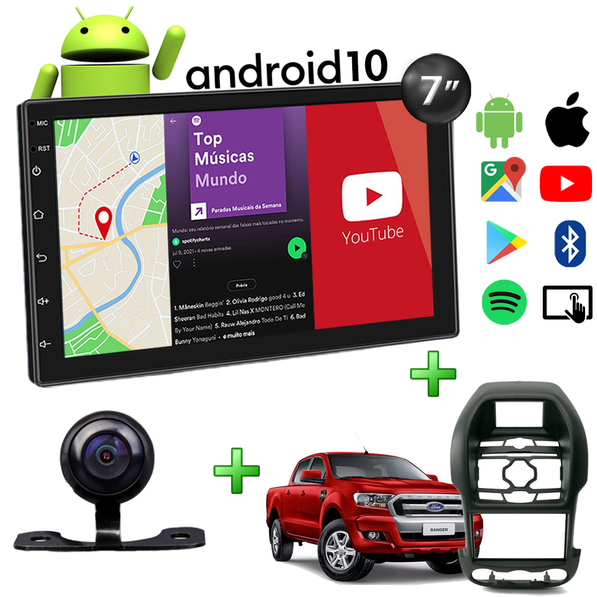 Central Multimídia Ford Ranger Muzik Android com Câmera de Ré 7 Polegadas 2 Din Moldura Atacado Poliparts