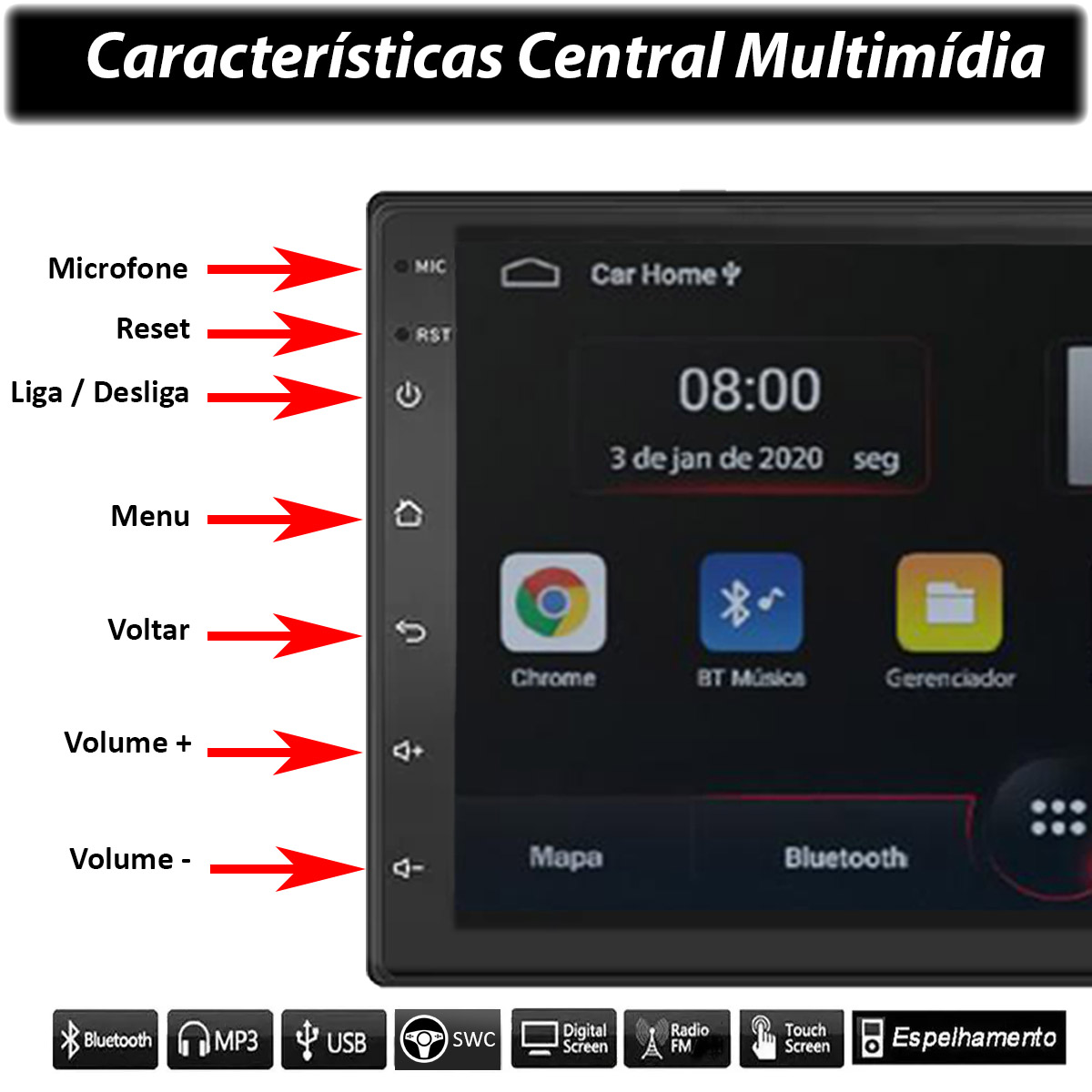 Central Multimídia Honda Civic Muzik Android com Câmera de Re 7 Polegadas 2 Din Moldura Grafite 2012 a 2016 Poliparts