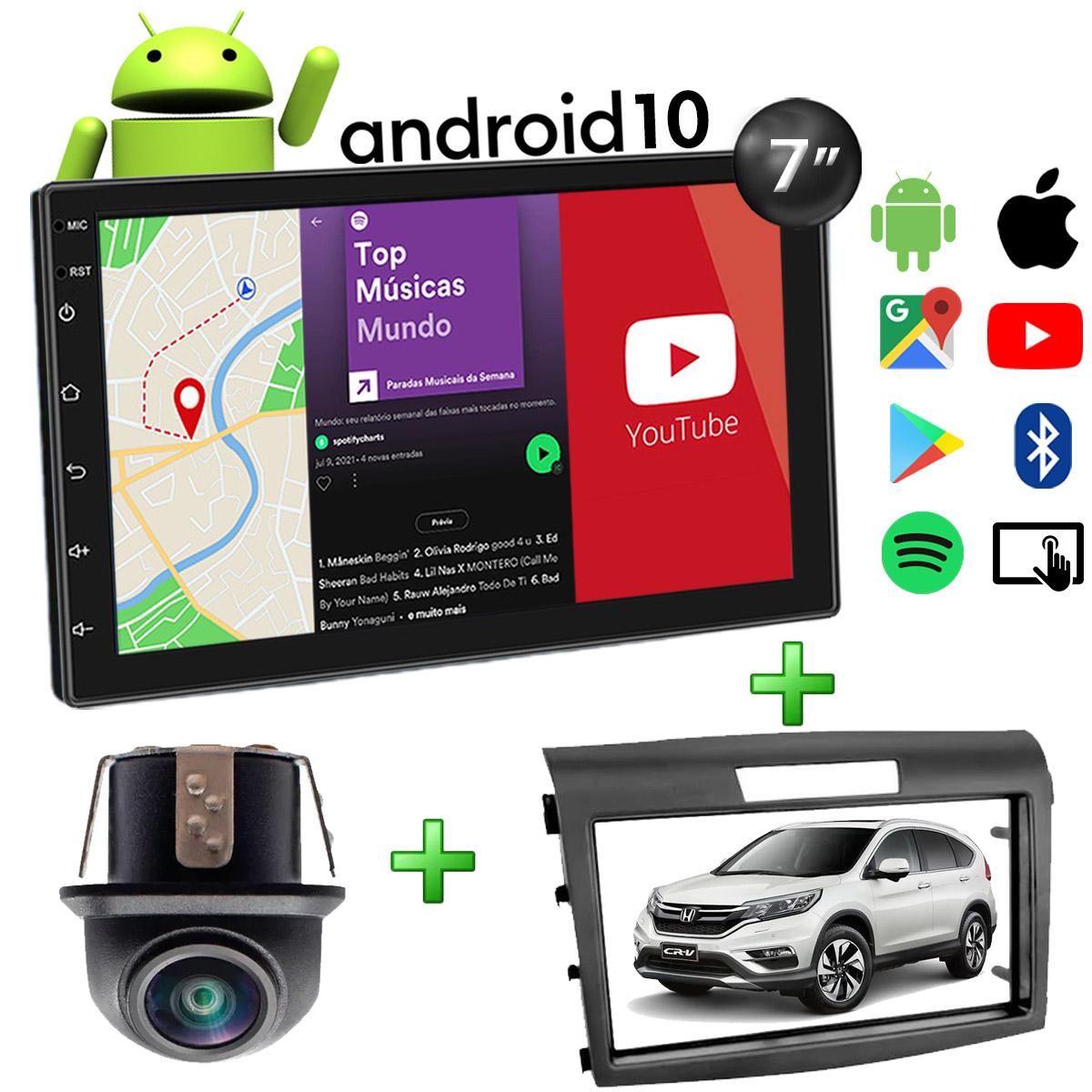 Central Multimídia Honda CRV Muzik Android com Câmera de Ré 7 Polegadas 2 Din 2012 a 2016 Moldura Preta Atacado Poliparts