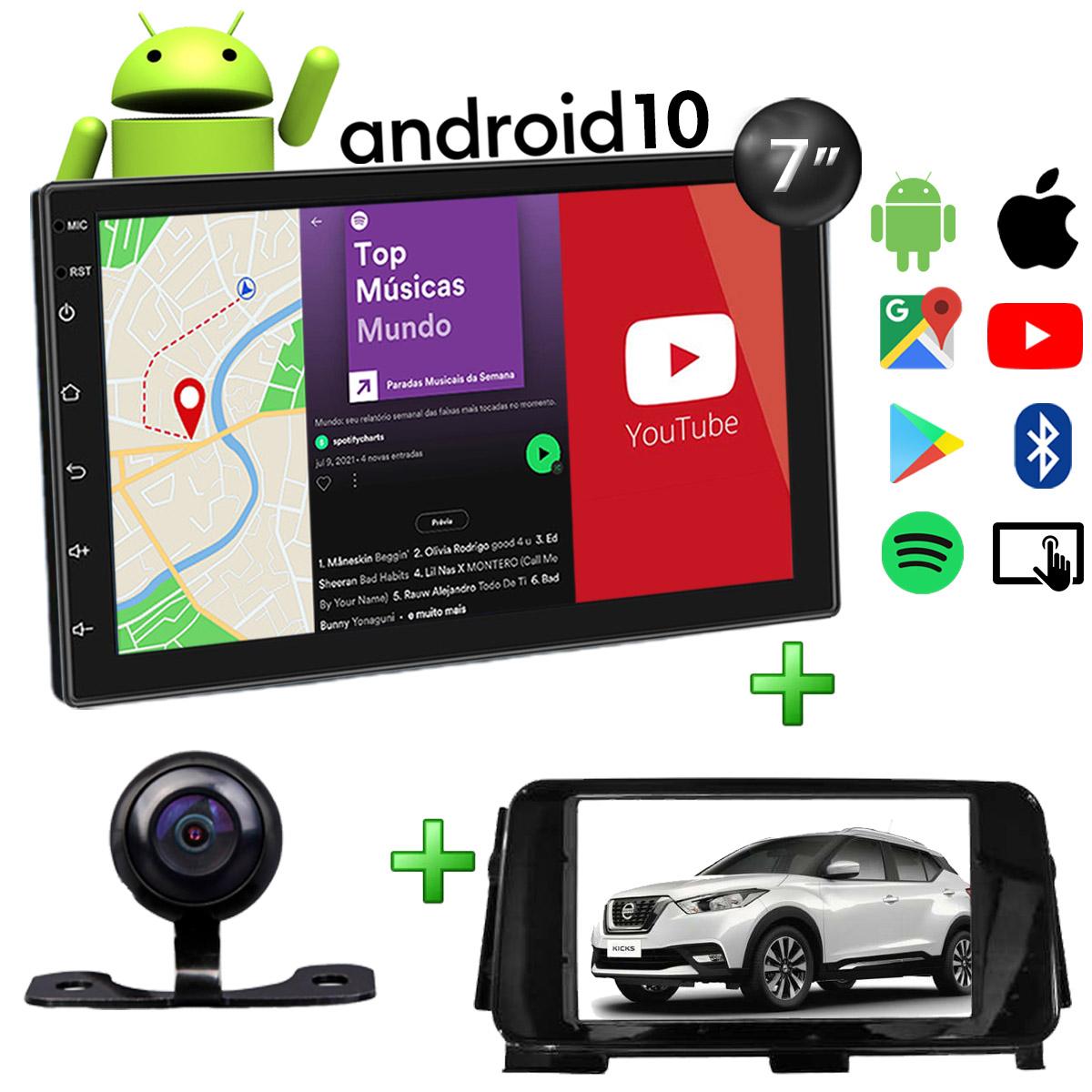 Central Multimídia Nissan Kicks Muzik Android com Câmera de Ré 7 Polegadas 2 Din Moldura Black Piano Atacado Poliparts