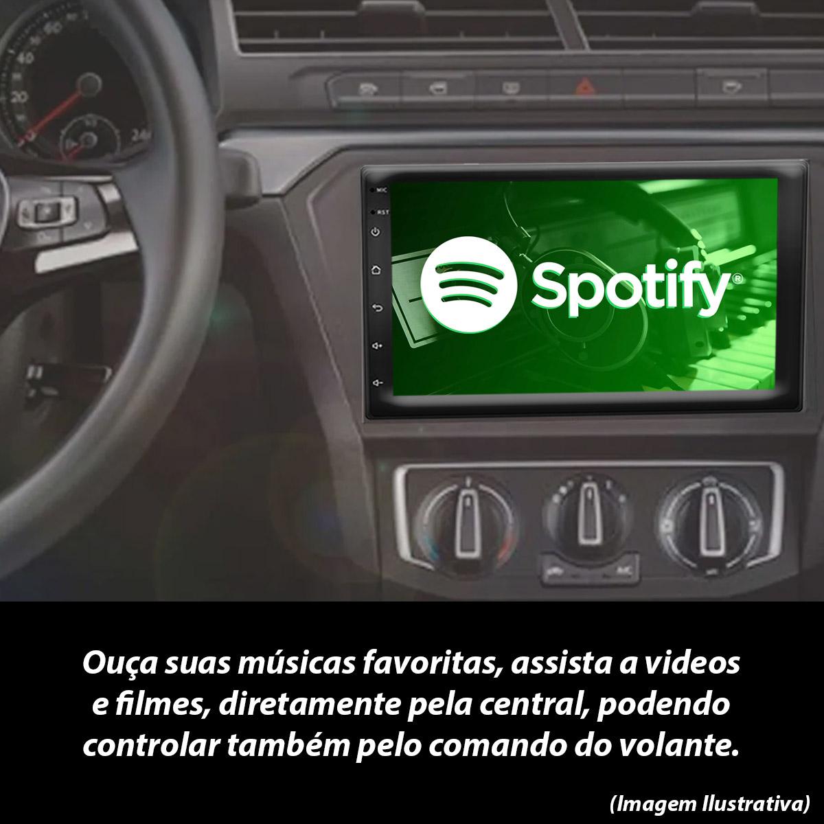 Central Multimídia Renault Sandero Muzik Android com Câmera de Ré 7 Polegadas 2 Din Moldura Poliparts