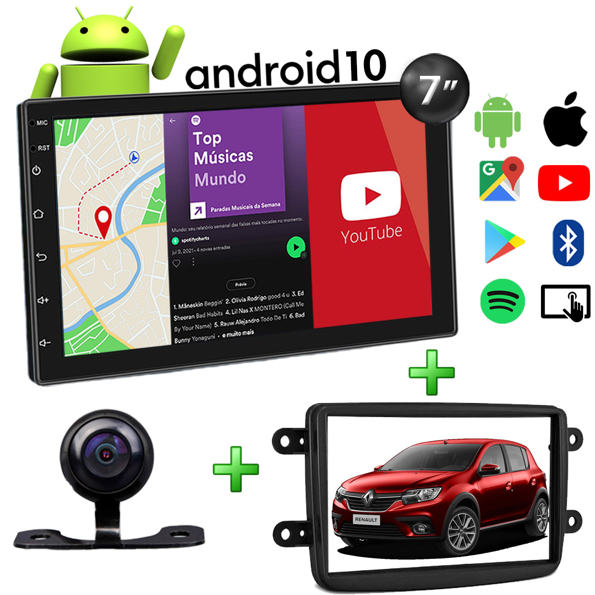 Central Multimídia Renault Sandero Muzik Android com Câmera de Ré 7 Polegadas 2 Din Moldura Atacado Poliparts