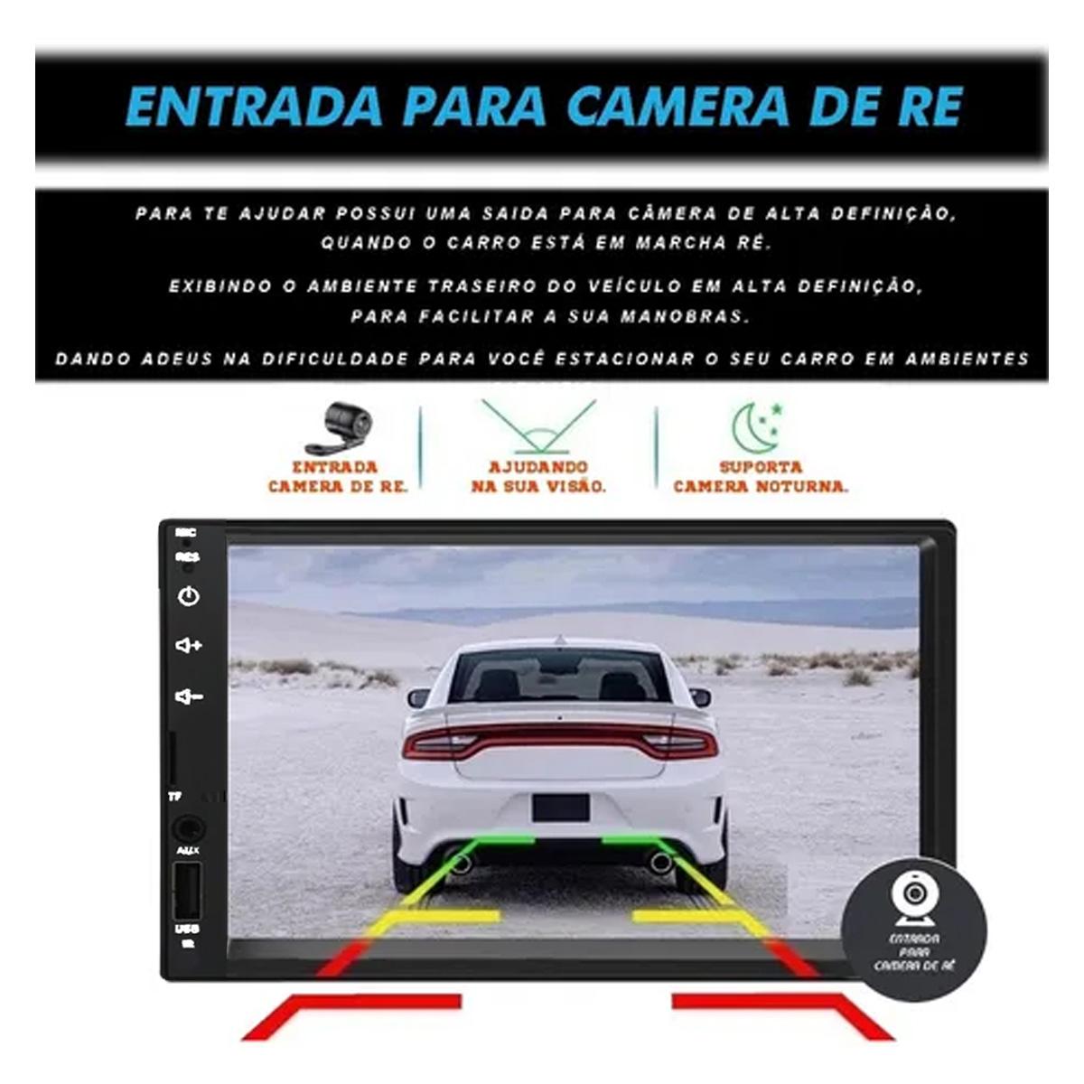 Central Multimidia Tay Tech com Bluetooth Mp5 Player Usb Sd Auxiliar 2Din 7 Polegadas Universal Poliparts