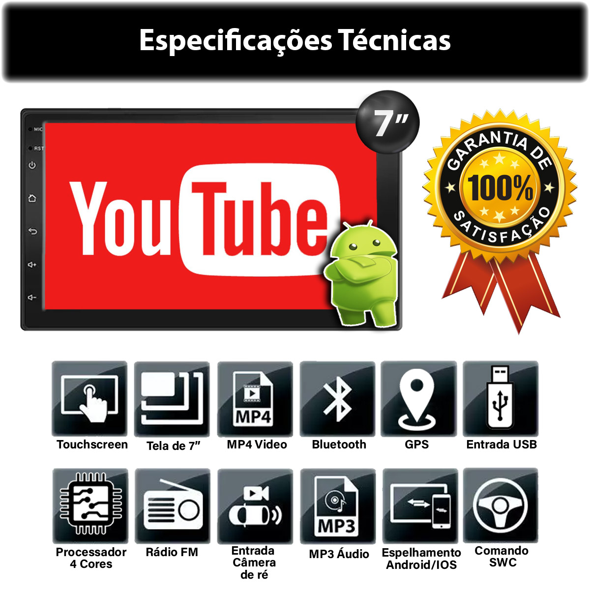 Central Multimídia Toyota Corolla Muzik Android com Câmera de Ré 7 Polegadas 2 Din 2008 a 2013 Moldura Grafite Poliparts