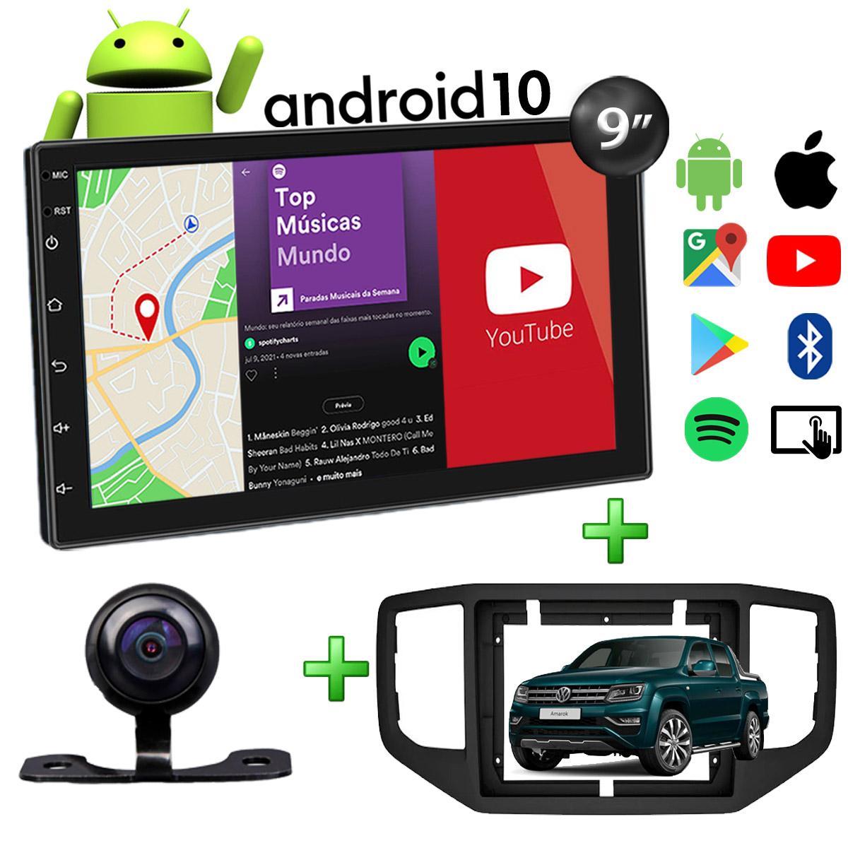 Central Multimídia Volkswagen Amarok Muzik Android com Câmera de Ré 9 Polegadas 2 Din Preto 2017 a 2021 Moldura Preta Poliparts