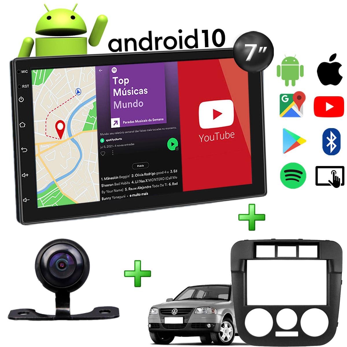 Central Multimídia Volkswagen Gol G4 Muzik Android com Câmera de Ré 7 Polegadas 2 Din Moldura Poliparts