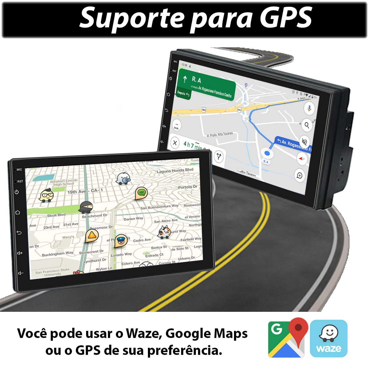 Central Multimídia Volkswagen Gol G5 Muzik Android com Câmera de Ré 7 Polegadas 2 Din Moldura Poliparts
