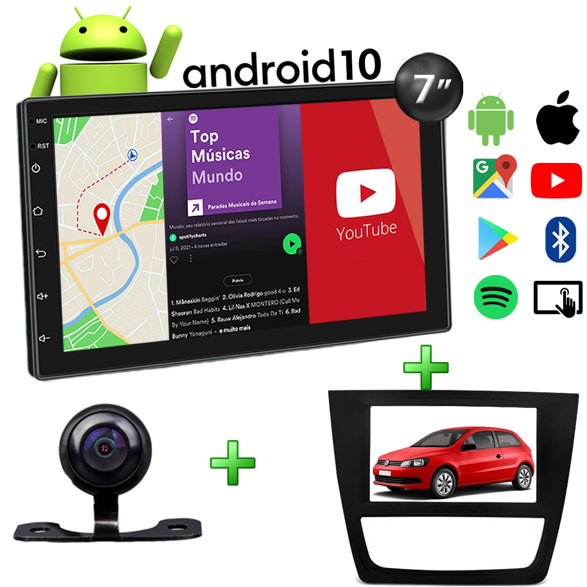 Central Multimídia Volkswagen Gol G6 Muzik Android com Câmera de Ré 7 Polegadas 2 Din Moldura Poliparts