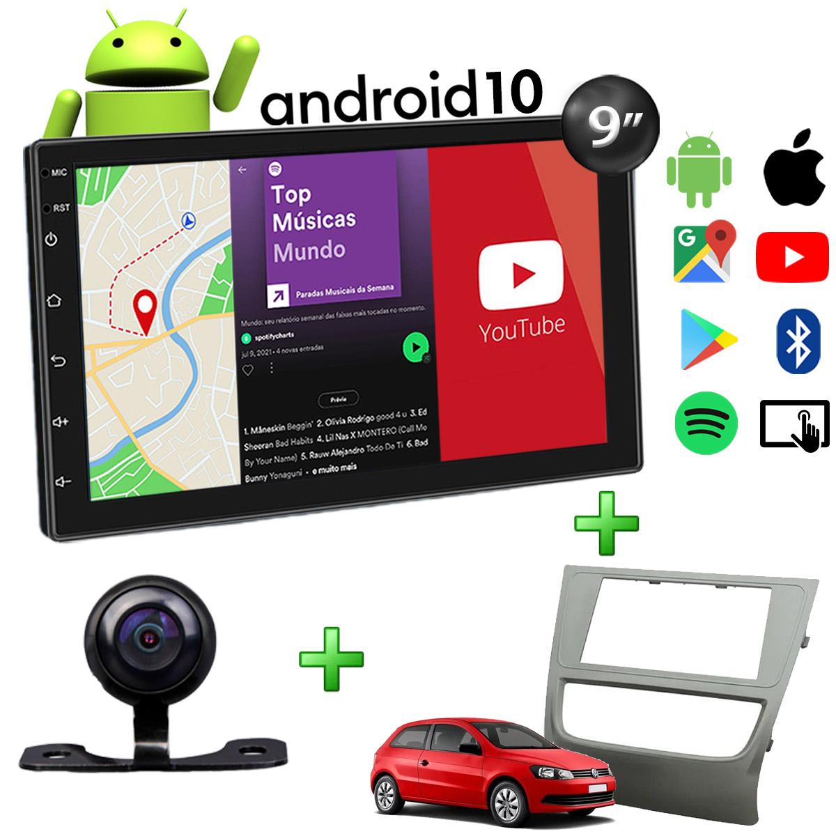 Central Multimídia Volkswagen Gol Saveiro Voyage G6 Muzik Android com Câmera de Ré 9 Polegadas 2 Din Moldura Grafite Poliparts