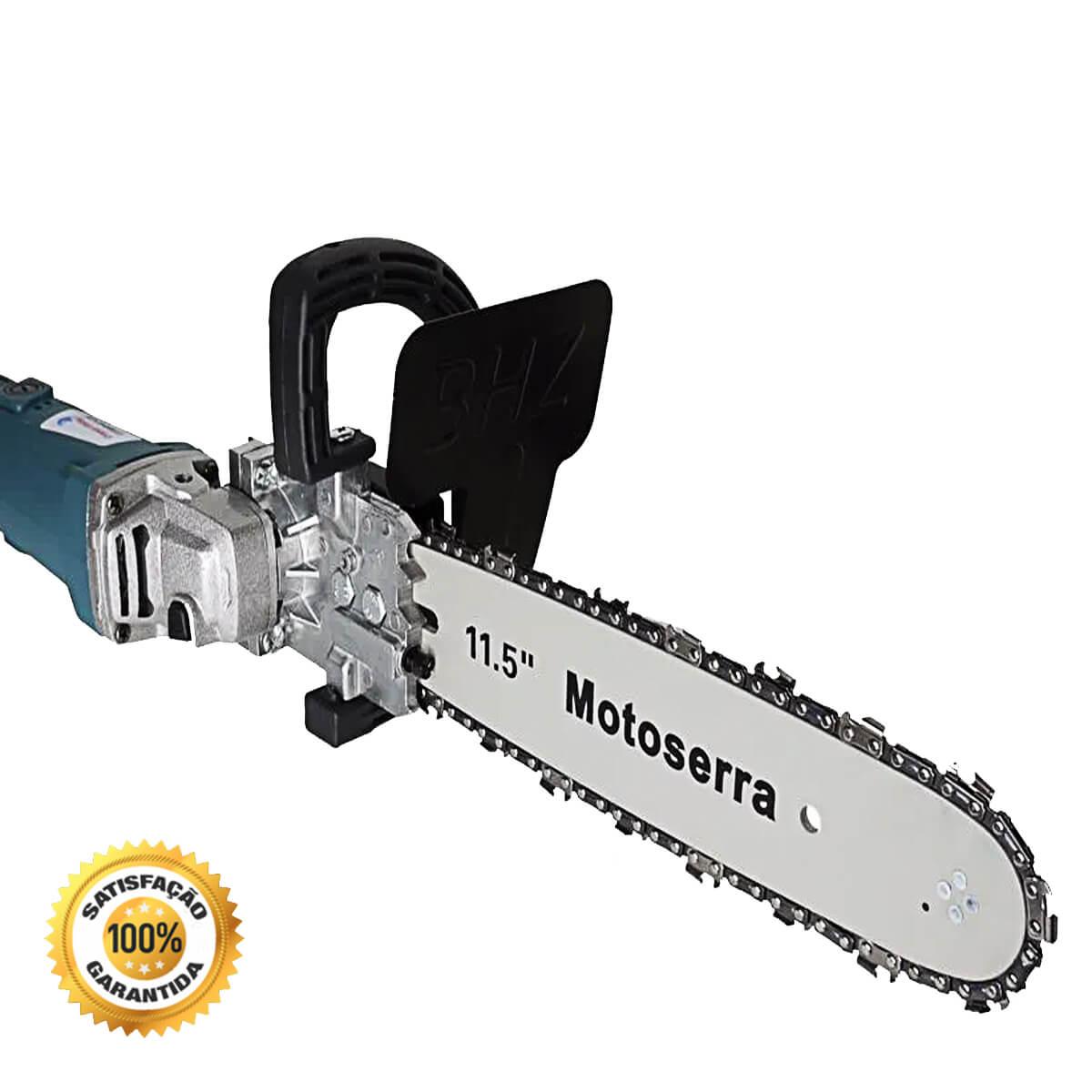 Esmerilhadeira Adaptador Motosserra + Lixadeira Angular para Madeira Parede Concreto 110V 4.1/2 115m