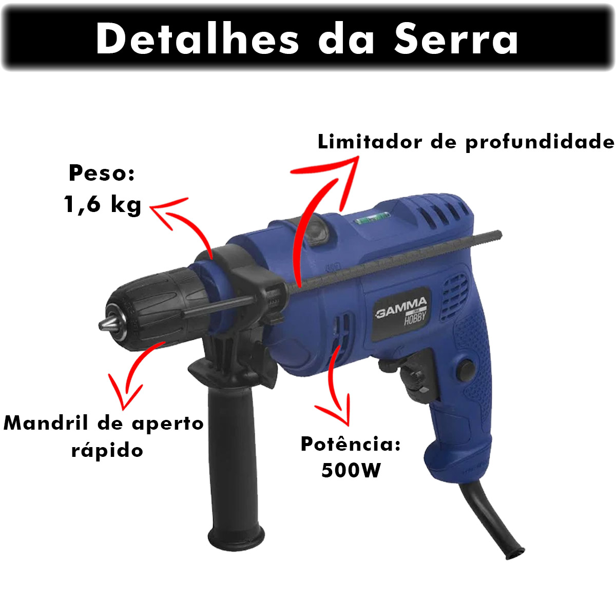 "Furadeira de Impacto Gamma 10 mm 500 Watts 3/8"" 220v Poliparts"