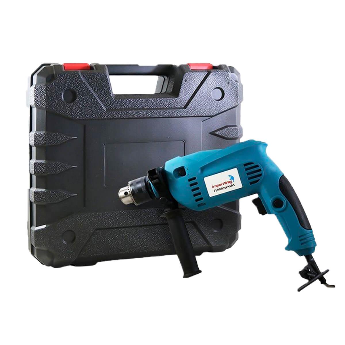 """furadeira de impacto para madeira aço concreto 1/2"""" 750w 110v Potente 3000 Rpm c/ maleta"""