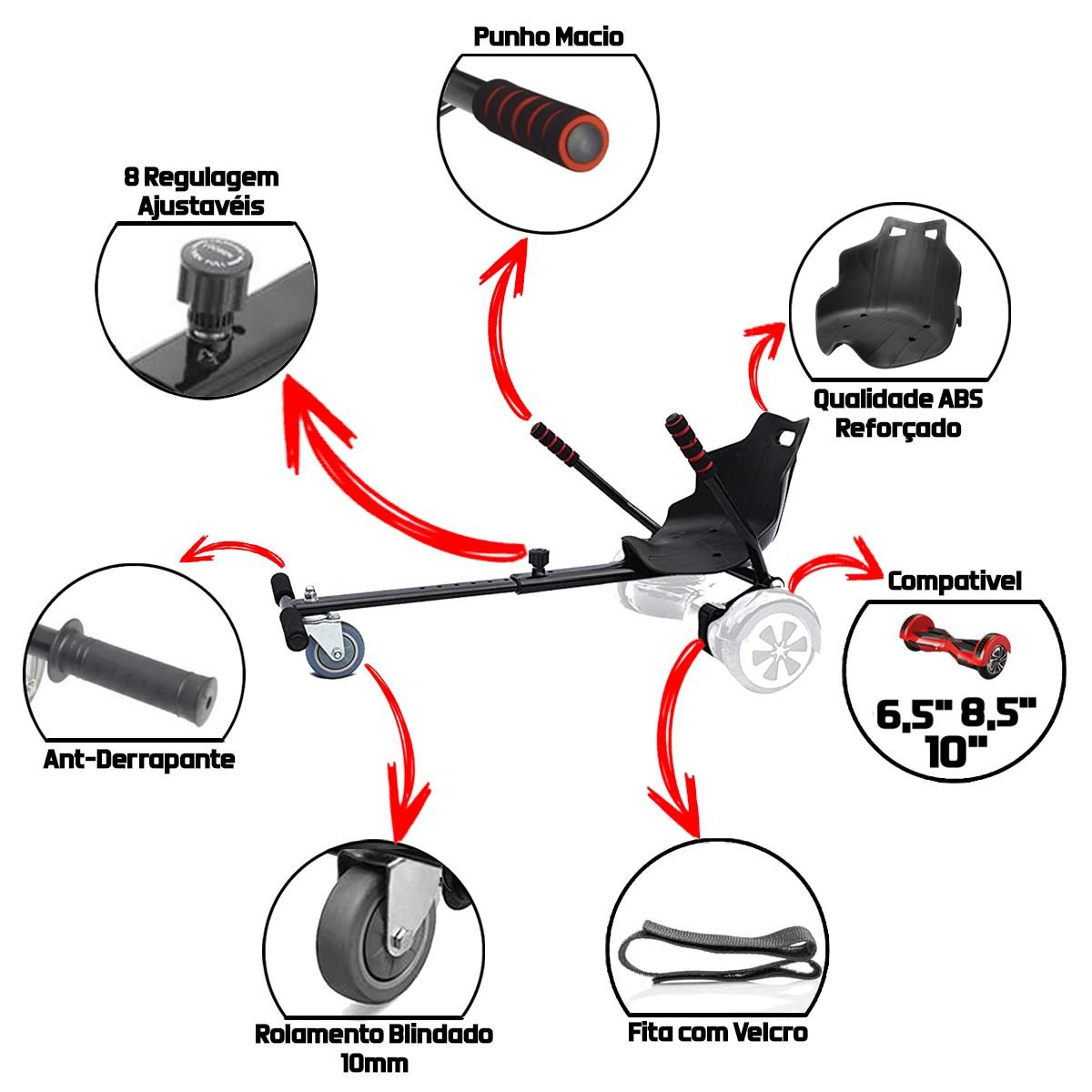 Hoverkart para Hoverboard 6,5 8,5 10 Polegadas Carrinho Top Speed até 100 Kg Triciclo para Scooter Elétrico Ajustável Assento Ergonómico