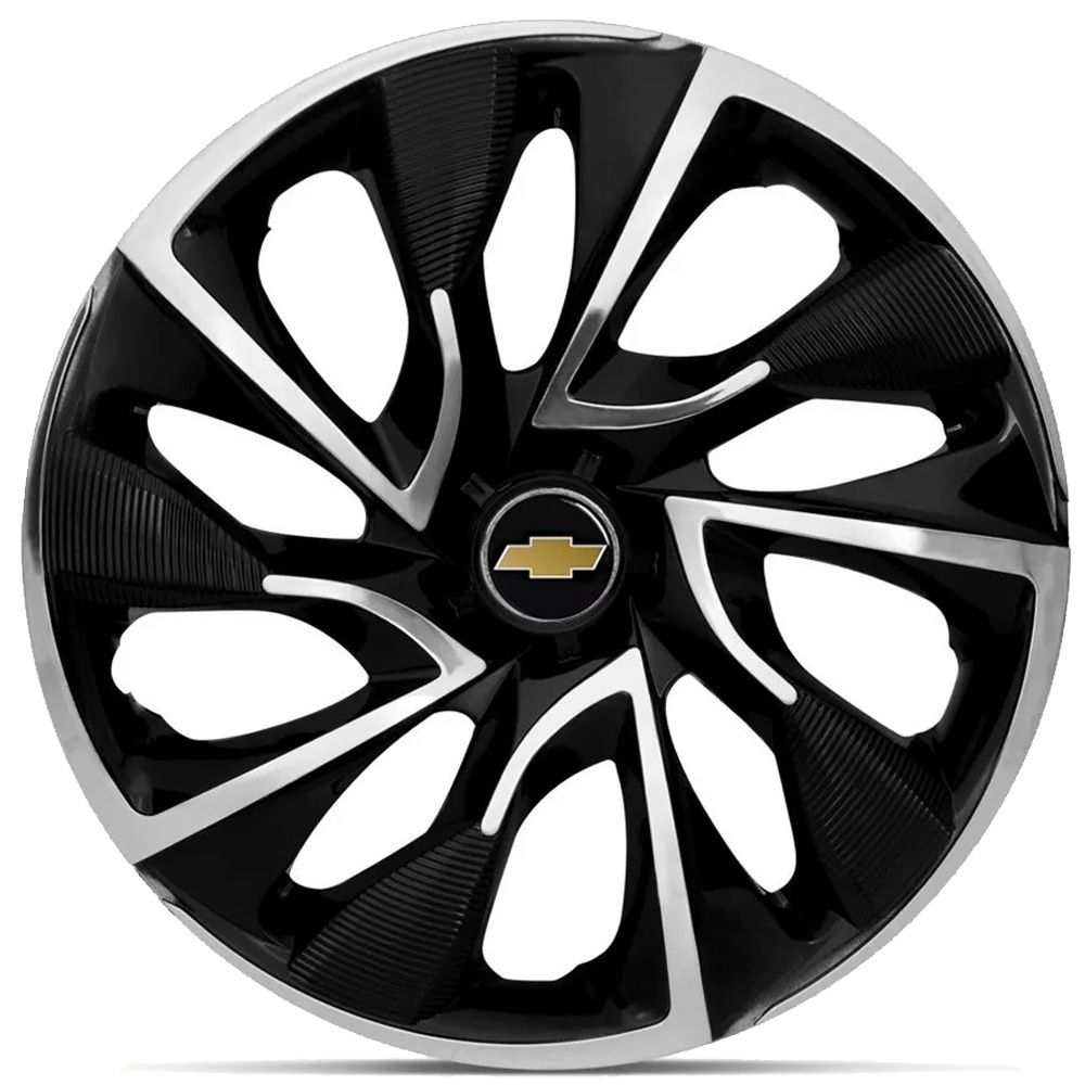Jogo 4 Calota DS4 Aro 15 Black Chrome Rodas Chevrolet 4x100 / 4x108 / 5x100 Universal Gm