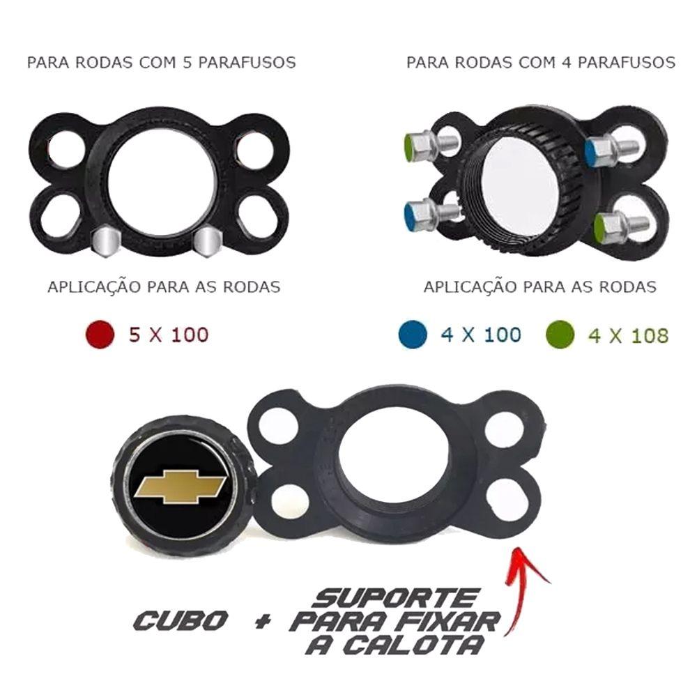 Jogo de Calotas Chevrolet DS4 Preto e Cromado Aro 15 Universal Poliparts