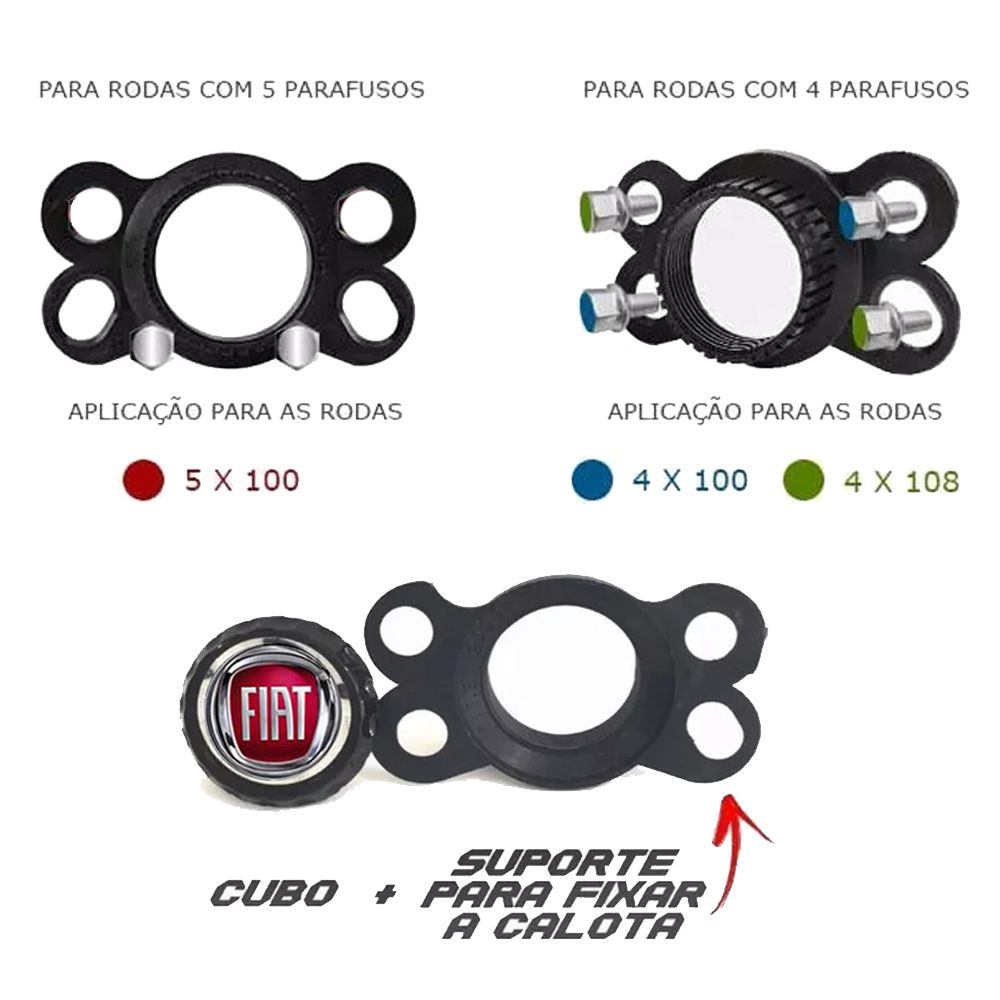 Jogo de Calotas Fiat DS4 Preto e Cromado Aro 15 Universal Poliparts