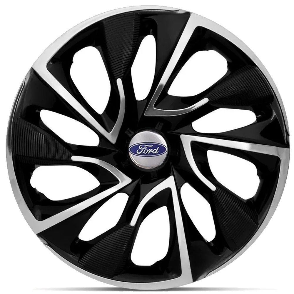 Jogo 4 Calota DS4 Aro 15 Black Chrome Rodas Ford 4x100 / 4x108 / 5x100 Universal