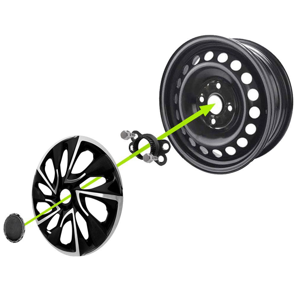 Jogo 4 Calota DS4 Aro 15 Black Chrome Rodas Volkswagen 4x100 / 4x108 / 5x100 Universal Vw