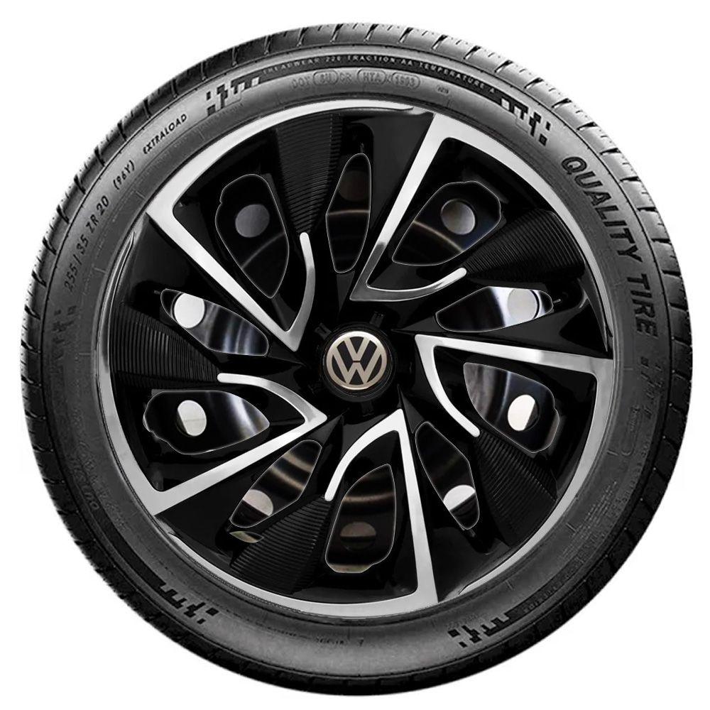 Jogo de Calotas Volkswagen DS4 Preto e Cromado Aro 15 Universal Poliparts