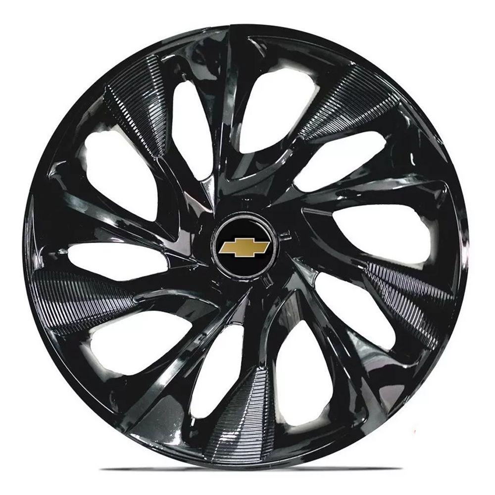 Jogo 4 Calota DS4 Black Aro 15 Rodas Chevrolet 4x100 / 4x108 / 5x100 Universal Gm