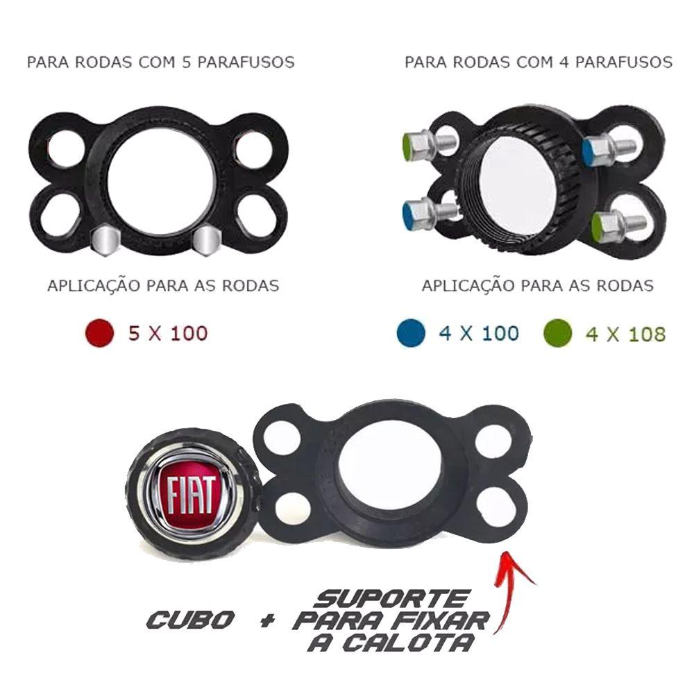 Jogo 4 Calota DS4 Black Aro 15 Rodas Fiat 4x100 / 4x108 / 5x100 Universal
