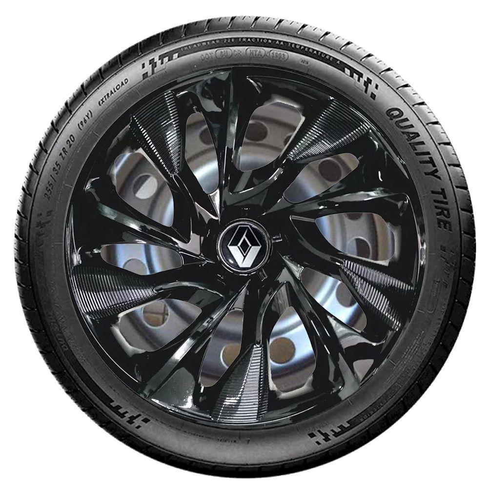 Jogo 4 Calota DS4 Black Aro 15 Rodas Renault 4x100 / 4x108 / 5x100 Universal