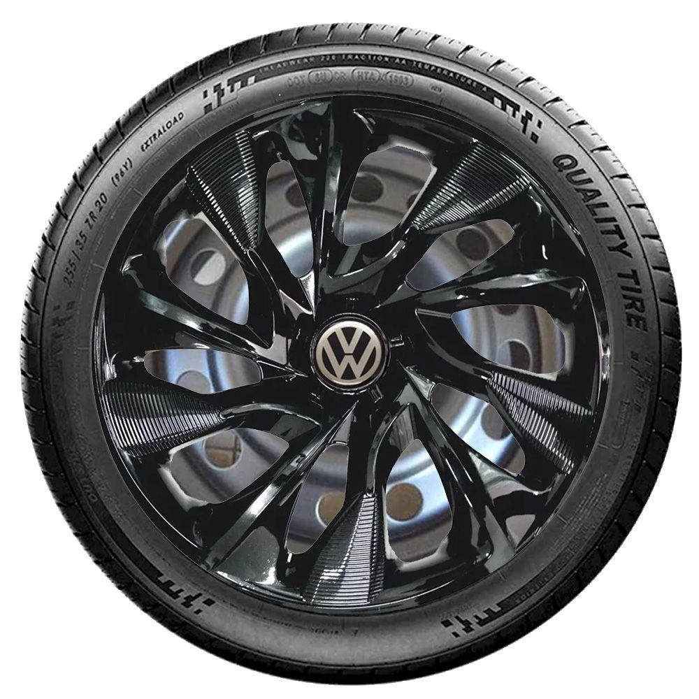 Jogo 4 Calota DS4 Black Aro 15 Rodas Volkswagen 4x100 / 4x108 / 5x100 Universal Vw