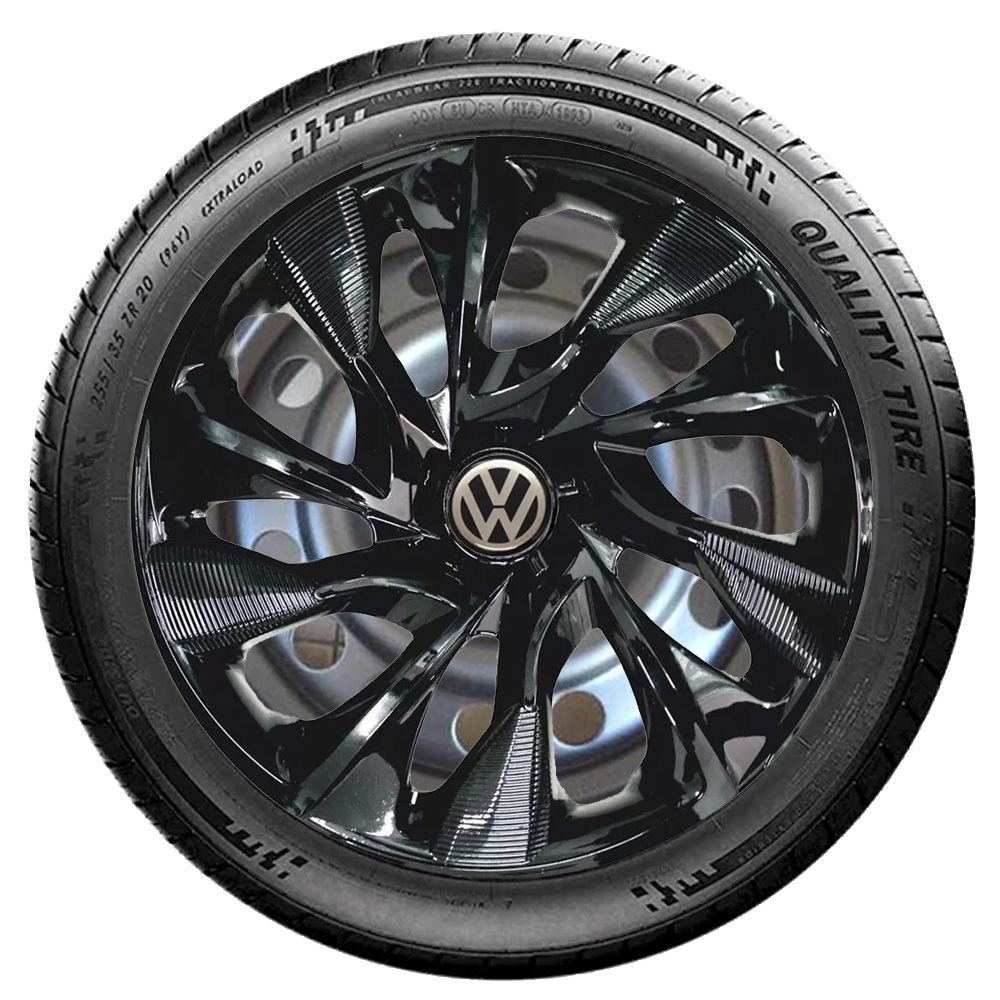 Jogo de Calotas Volkswagen DS4 Preto Aro 15 Universal Poliparts