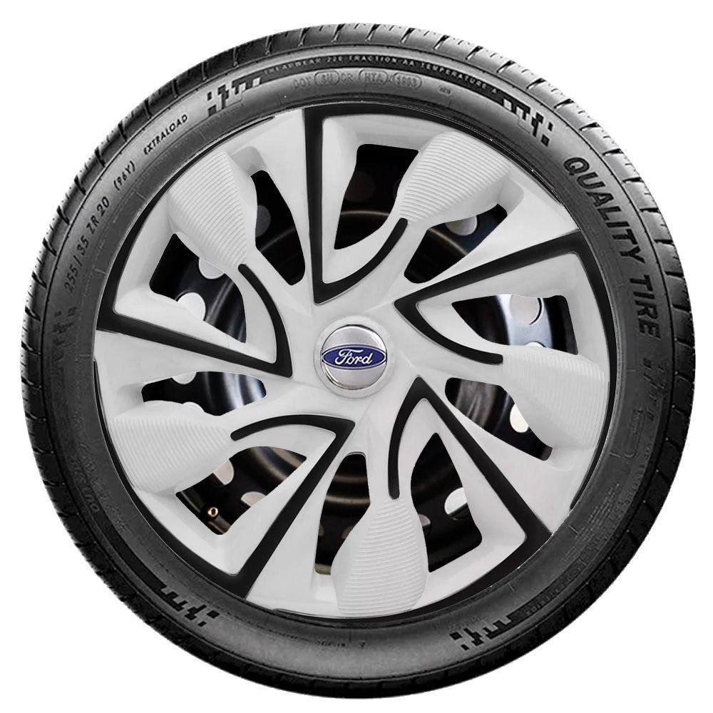 Jogo 4 Calota DS4 Black White Aro 14 Rodas Ford 4x100 / 4x108 / 5x100 Universal