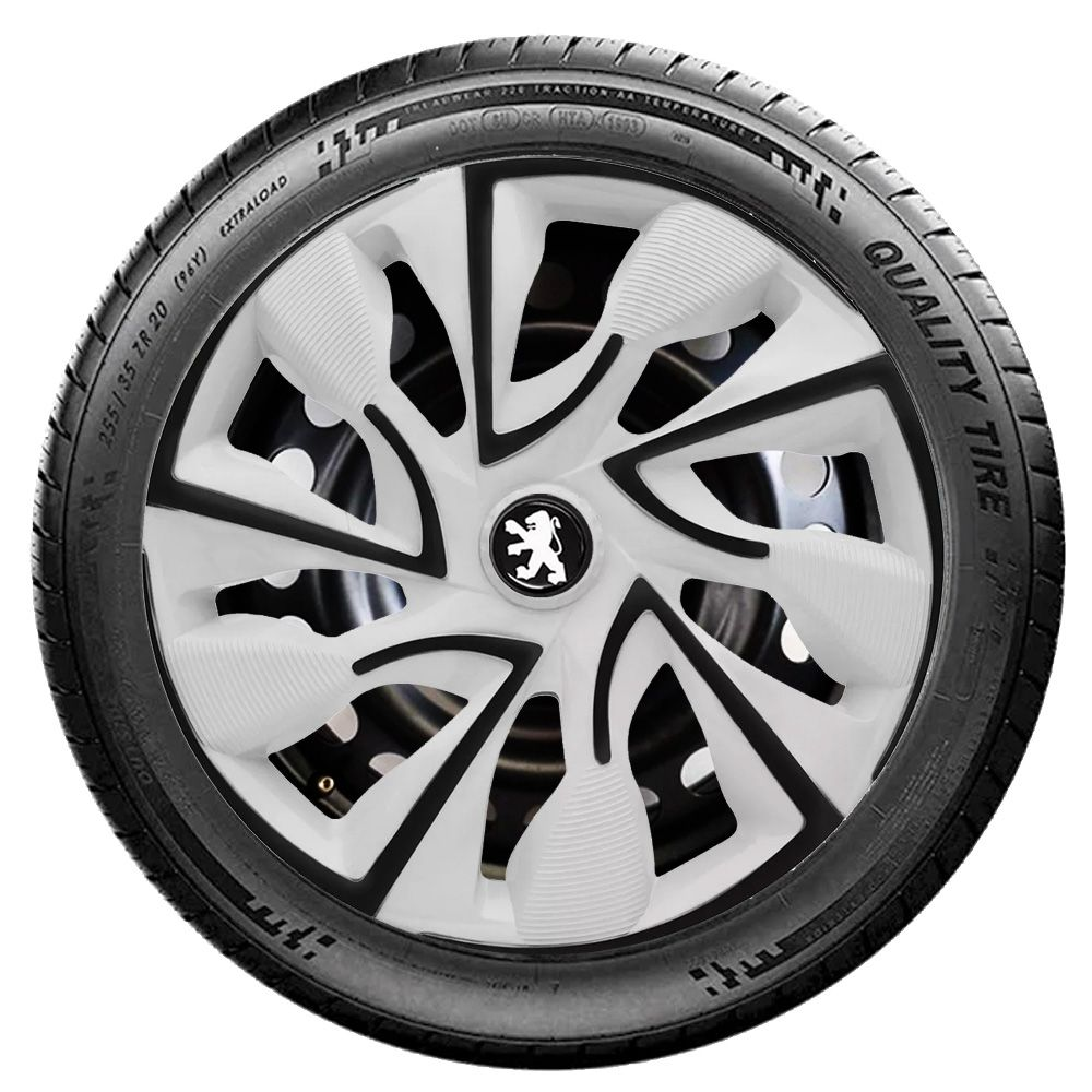 Jogo 4 Calota DS4 Black White Aro 14 Rodas Peugeot 4x100 / 4x108 / 5x100 Universal