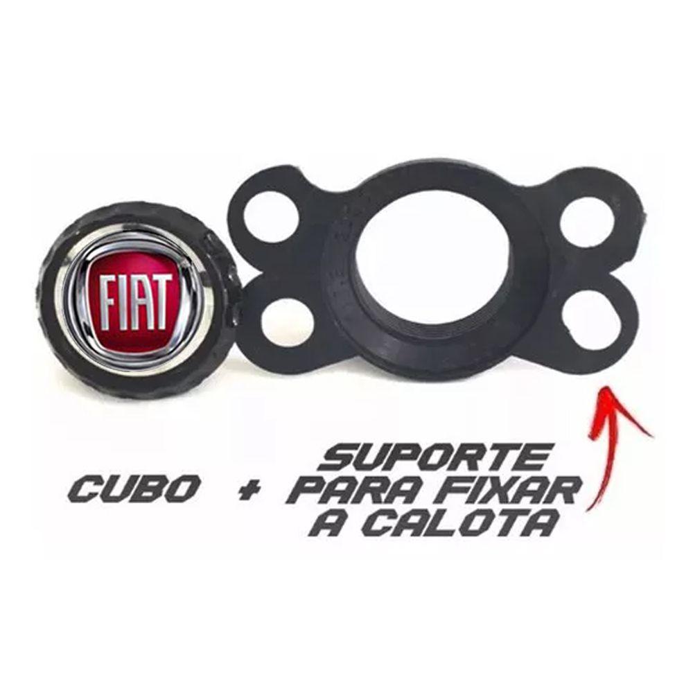 Jogo de Calotas Fiat DS4 Preto e Vermelho Aro 15 Universal Poliparts