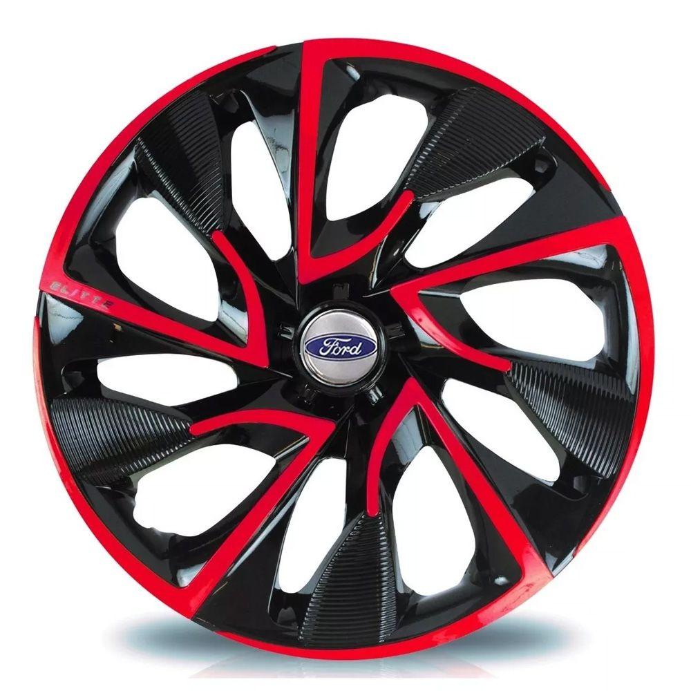 Jogo de Calotas Ford DS4 Preto e Vermelho Aro 15 Universal Poliparts
