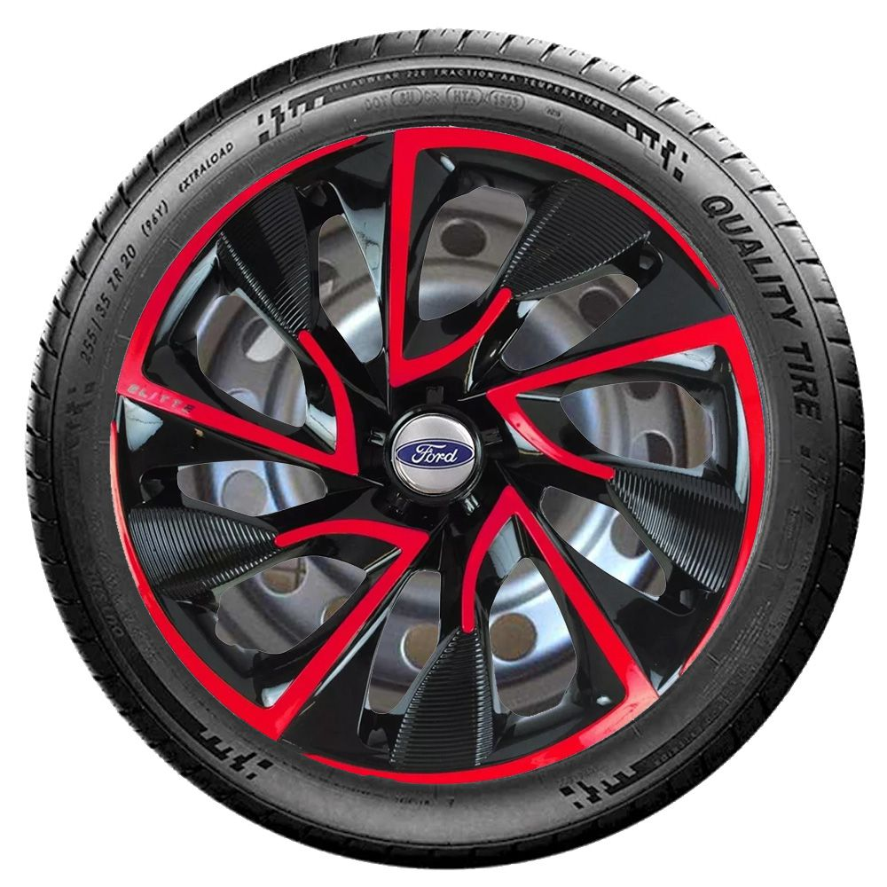 Jogo 4 Calota DS4 Red Cup Aro 15 Rodas Ford 4x100 / 4x108 / 5x100 Universal