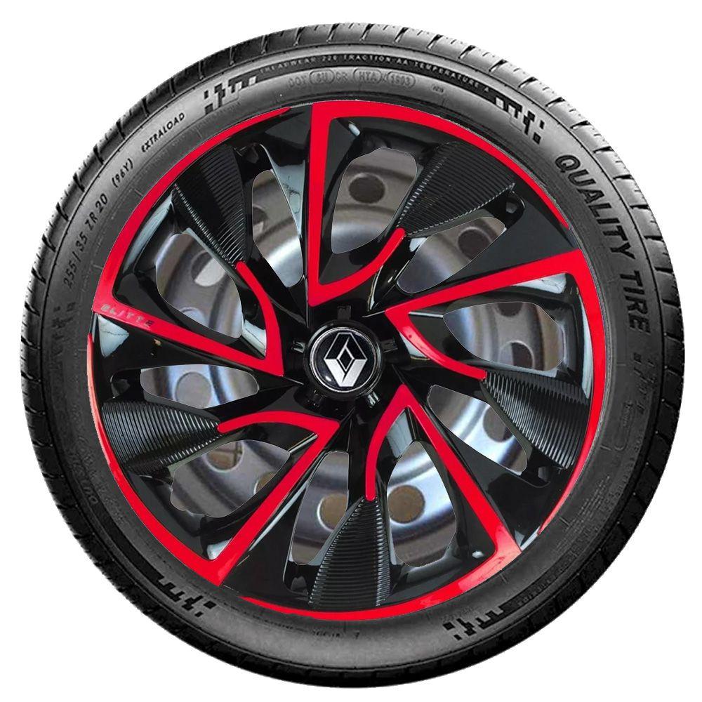 Jogo 4 Calota DS4 Red Cup Aro 15 Rodas Renault 4x100 / 4x108 / 5x100 Universal