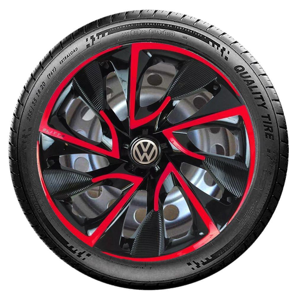Jogo de Calotas Volkswagen DS4 Preto e Vermelho Aro 15 Universal Poliparts