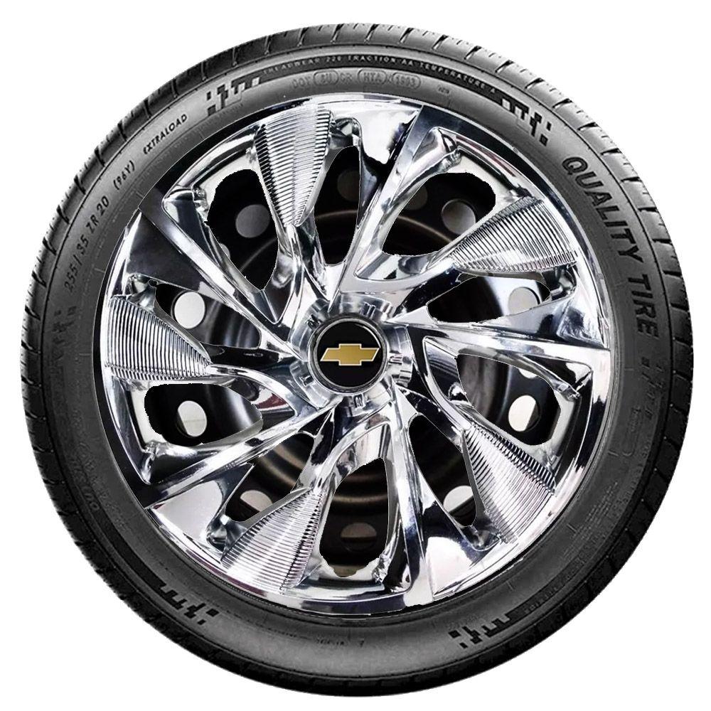 Jogo 4 Calota DS4 Sport Chrome Aro 15 Rodas Chevrolet 4x100 / 4x108 / 5x100 Universal Gm