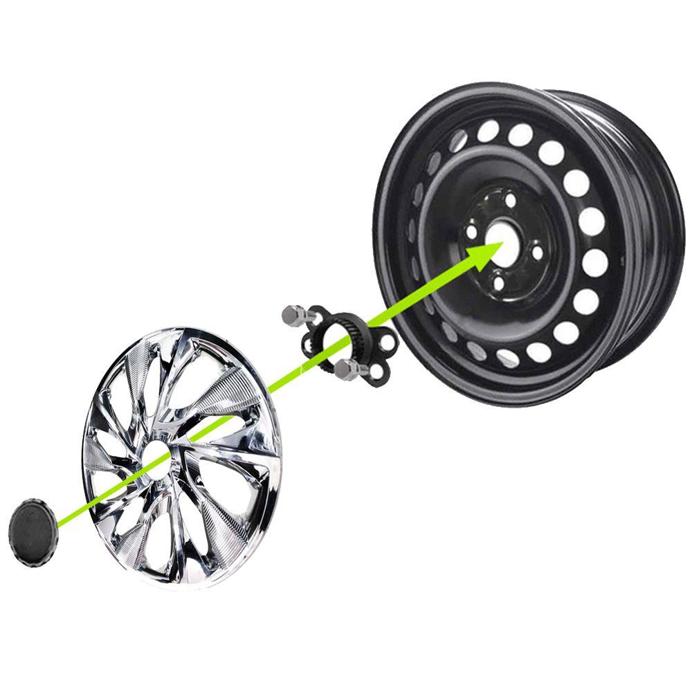 Jogo 4 Calota DS4 Sport Chrome Aro 15 Rodas Fiat 4x100 / 4x108 / 5x100 Universal