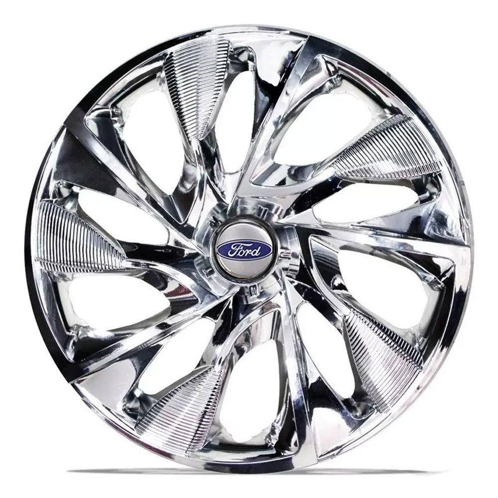 Jogo 4 Calota DS4 Sport Chrome Aro 15 Rodas Ford 4x100 / 4x108 / 5x100 Universal