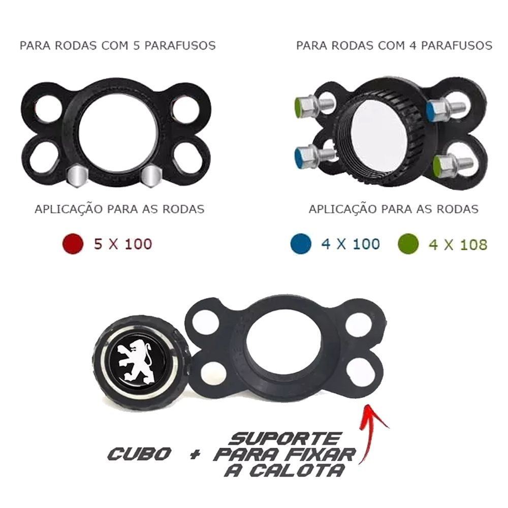 Jogo 4 Calota DS4 Sport Chrome Aro 15 Rodas Peugeot 4x100 / 4x108 / 5x100 Universal