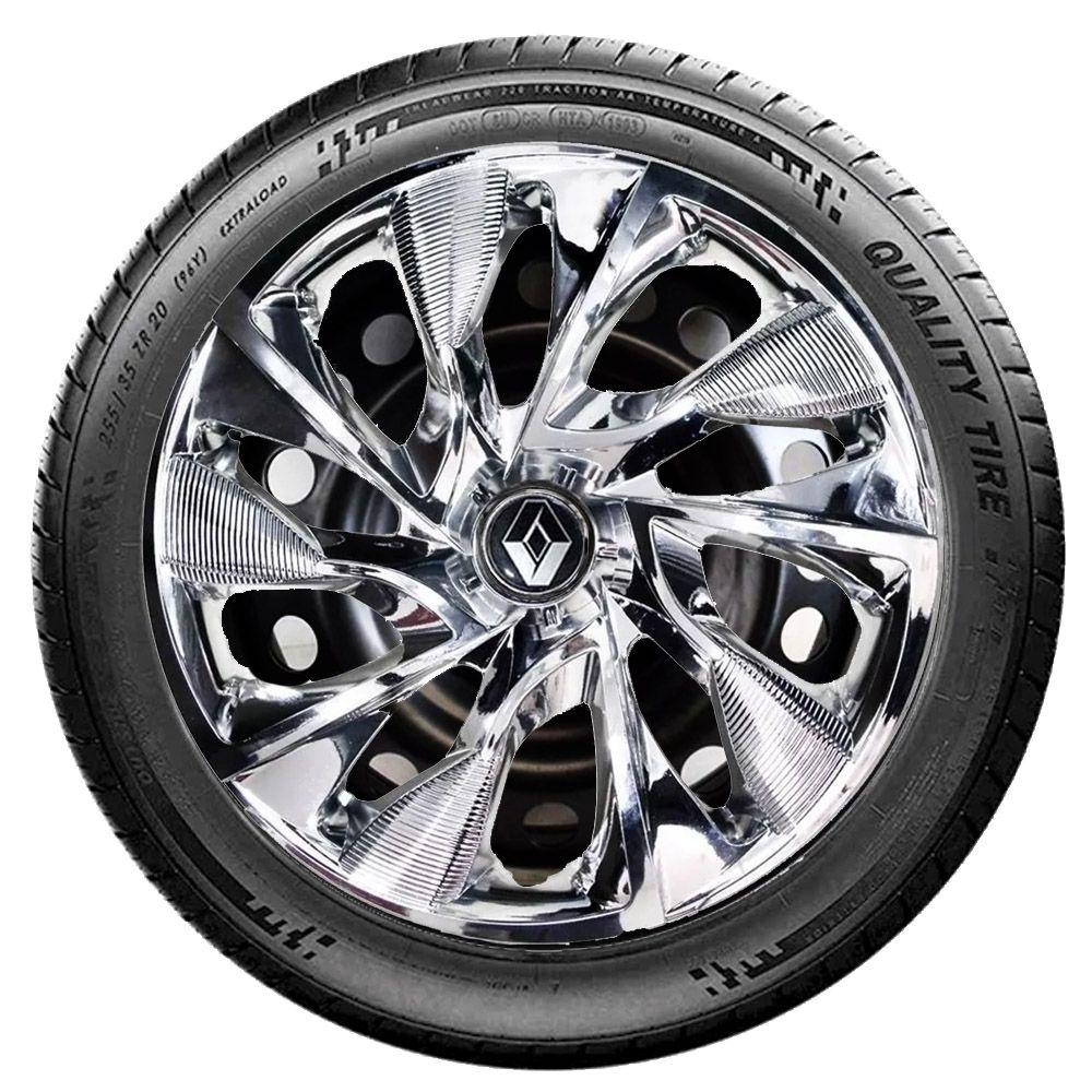 Jogo 4 Calota DS4 Sport Chrome Aro 15 Rodas Renault 4x100 / 4x108 / 5x100 Universal