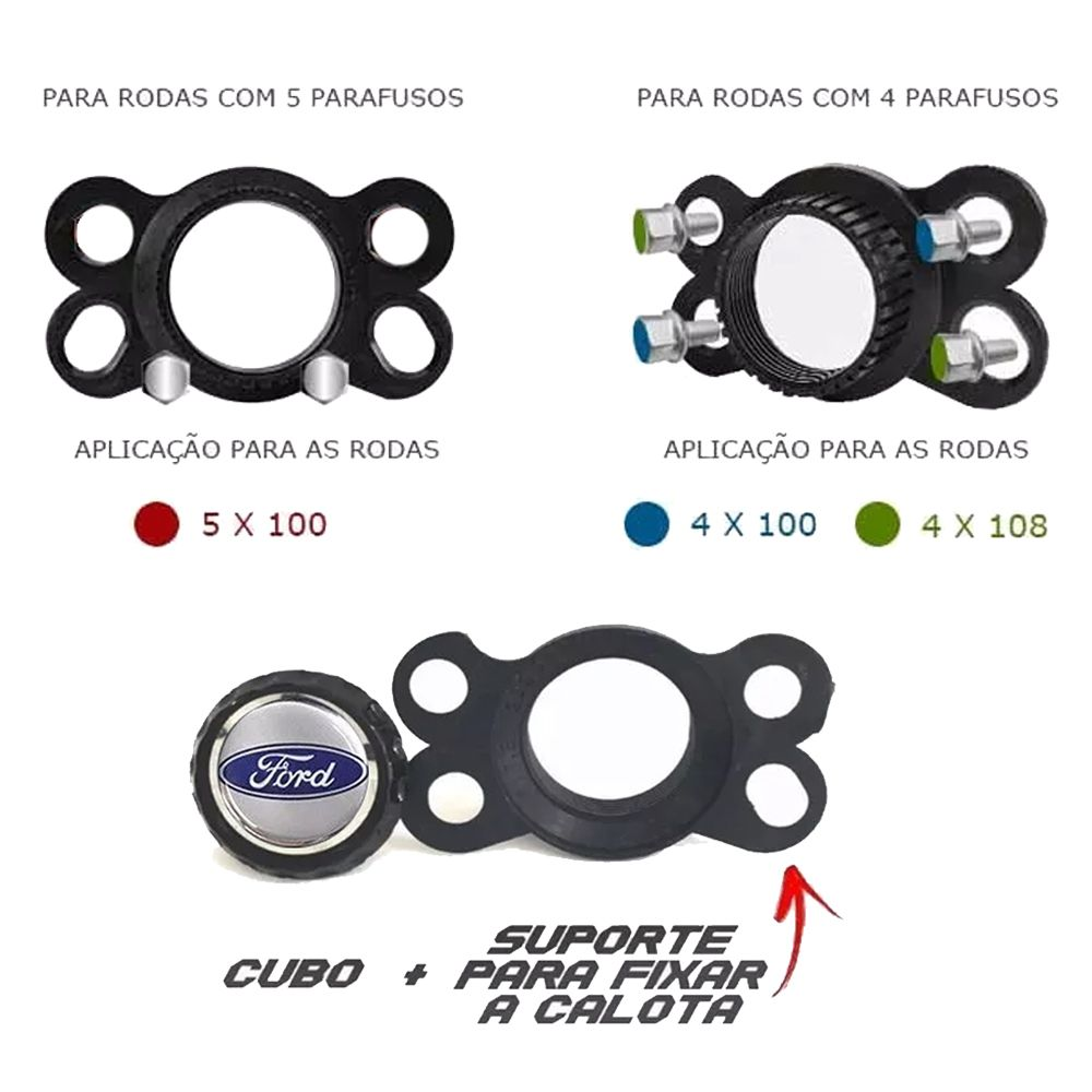 Jogo 4 Calota DS4 Sport Cup Aro 15 Rodas Ford 4x100 / 4x108 / 5x100 Universal